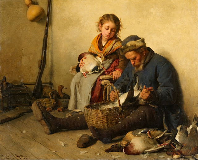 Antonio Rotta - Interior Scene with a Grandfather and Granddaughter plucking Ducks