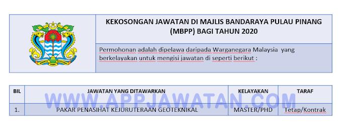 Jawatan Kosong Terkini di Majlis Bandaraya Pulau Pinang (MBPP).