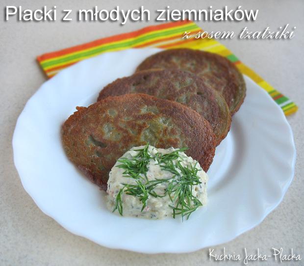 Placki z młodych ziemniaków, z sosem tzatziki