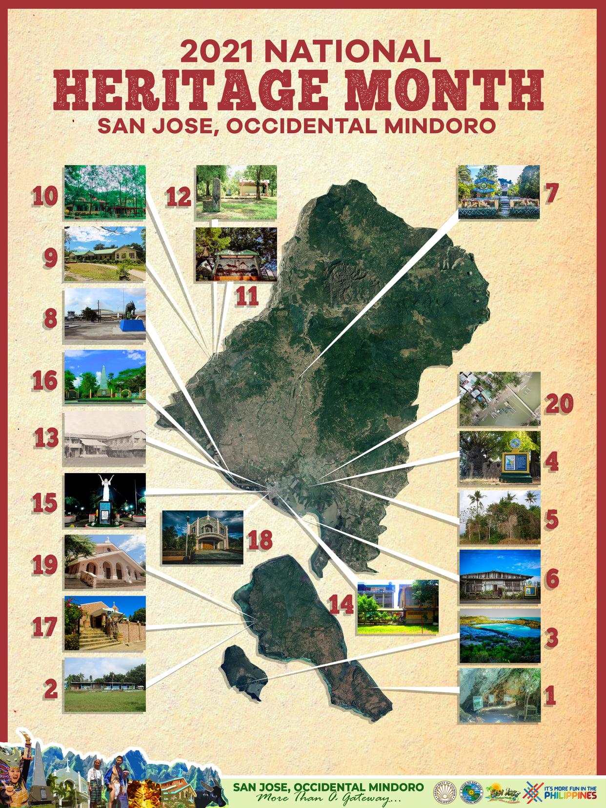 Municipality of San Jose Occidental Mindoro historical sites map