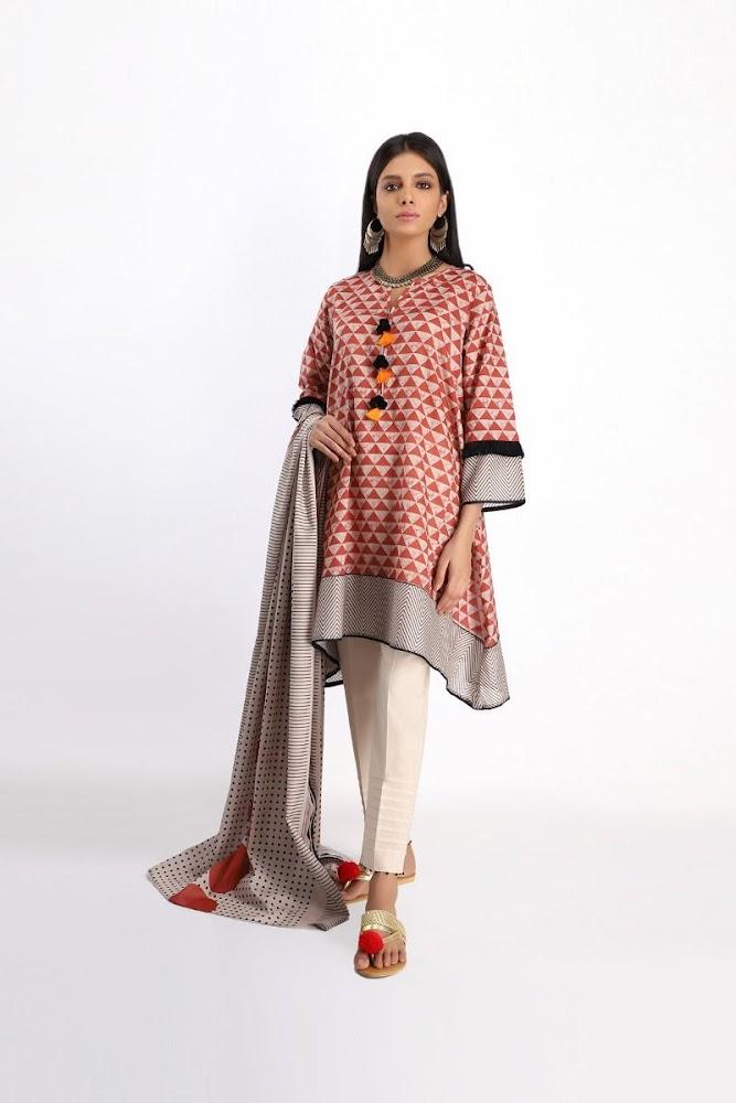 khaadi Orange lawn printed shirt dupatta