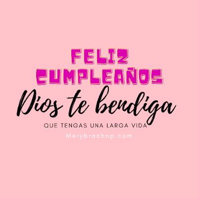 imagen rosada con Dios te bendiga feliz cumpleaños