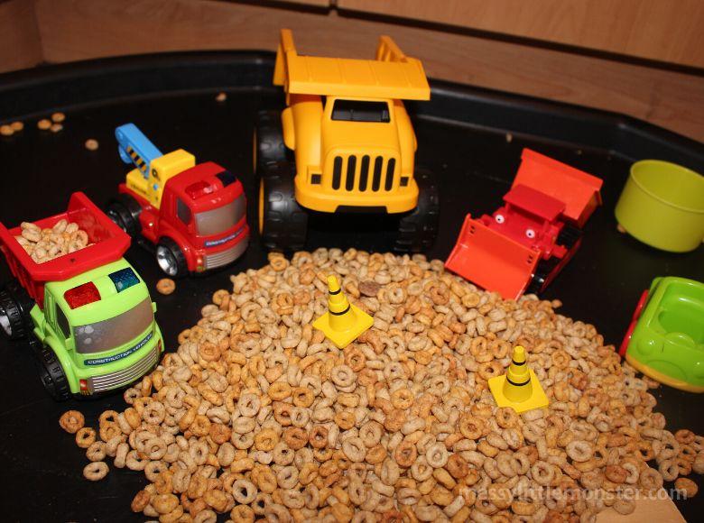 indoor activities for kids - construction sensory bin