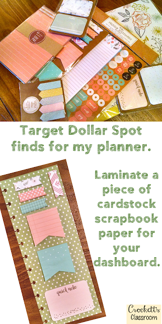 Teacher planner goodies, make a dashboard to hold sticky notes.