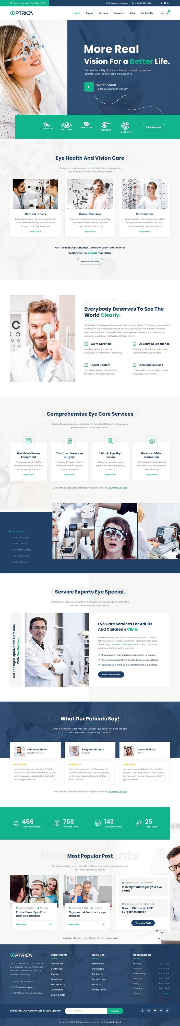 Optometrist and Eye Care Responsive Website Theme