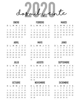 Calendario elegante 2020 gratis para imprimir