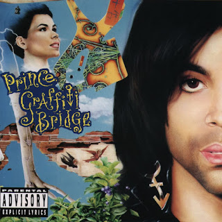 Prince half face on a blue record sleeve