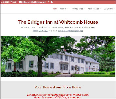Part of the home page screen dump of the Bridges Inn home page, showing a photo of the inn