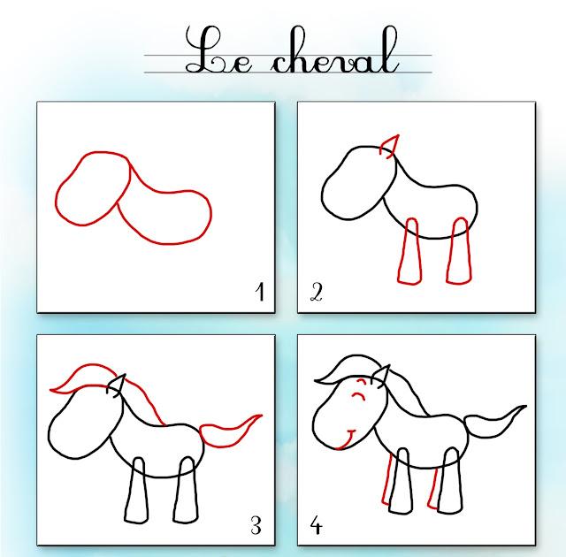 صور تحتوي على مراحل رسم حصان للاطفال الصغار