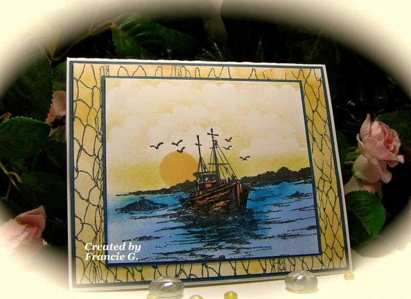 ODBD The Waves on the Sea, Fishing Net Background, ODBD Customer Card of the Day by Fran Gumprecht