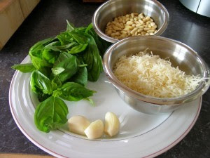 Pesto Ingredients on a plate, Basil, Garlic, Pine Nuts and Parmigiano Cheese.