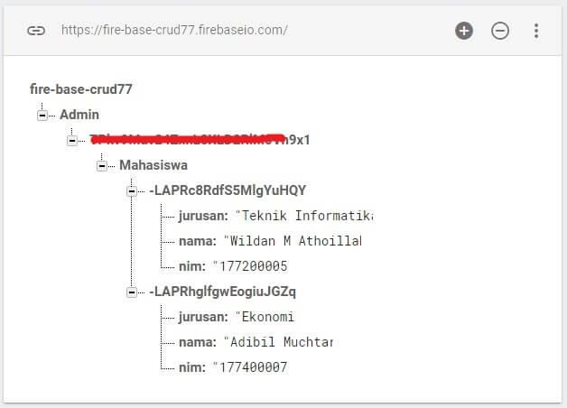 Tampilan Data yang sudah tersimpan didalam Database