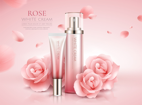 Rose white cream cosmetic advertising poster template vector