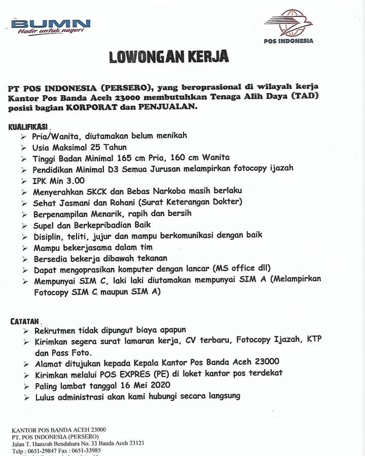 Lowongan Kerja Bumn Terbaru Pt Pos Indonesia Persero Bulan Mei 2020 Rekrutmen Lowongan Kerja Bulan Januari 2021