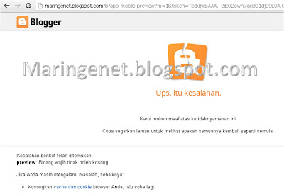 Error Edit Template Blogger