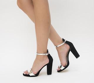 Sandale elegante argintii cu negru cu toc gros