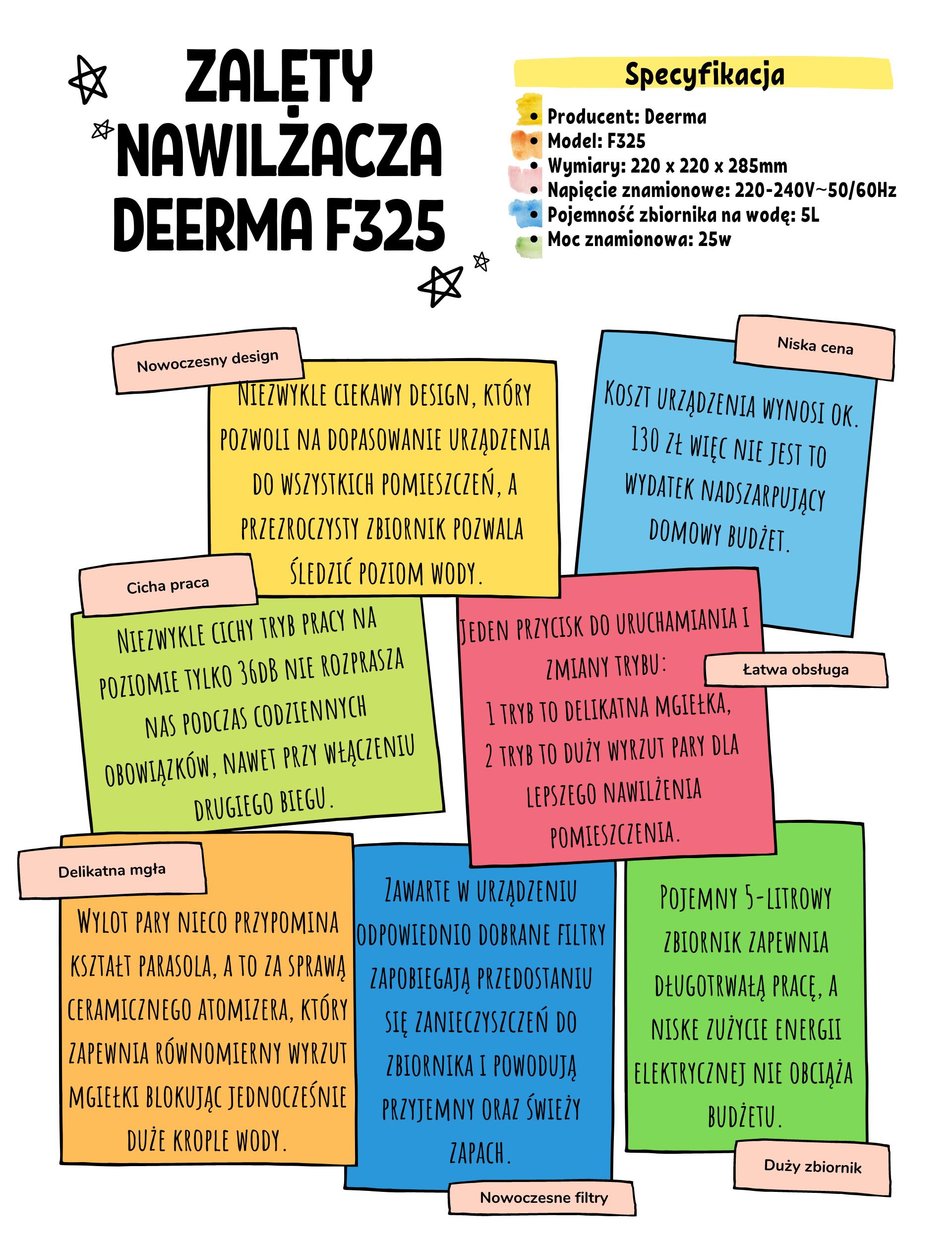 Zalety nawilżacza Deerma F325