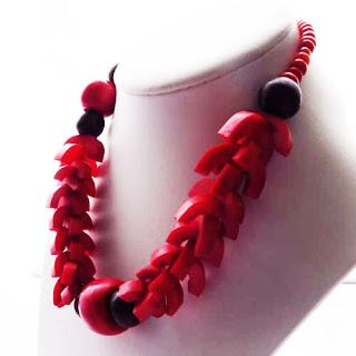Statement red bone necklace