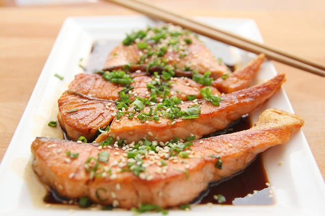 Teriyaki Salmon is made with wheat-based soy sauce