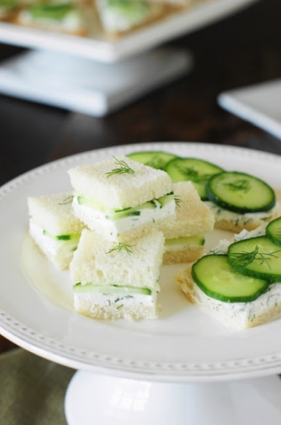 Cucumber Tea Sandwíches wíth Lemony Díll Spread
