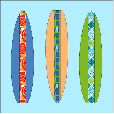 QuiltFabrication created a Summer Fun Surfboards block of three solid colored vertical surfboards on a blue background