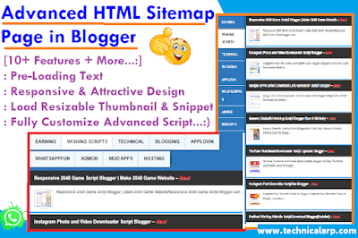 Advanced HTML Sitemap Page in Blogger