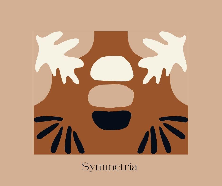 Erilaisia abstrakteja, piirrettyjä elementtejä aseteltuna symmetrisesti.