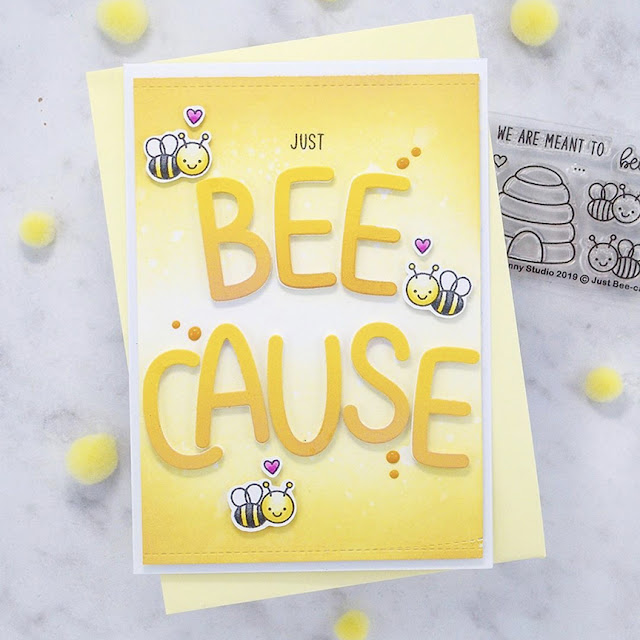 Sunny Studio Stamps: Just Bee-cause Customer Card by Rhian