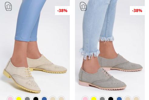 Pantofi Oxford dama ieftini bej, gri la moda