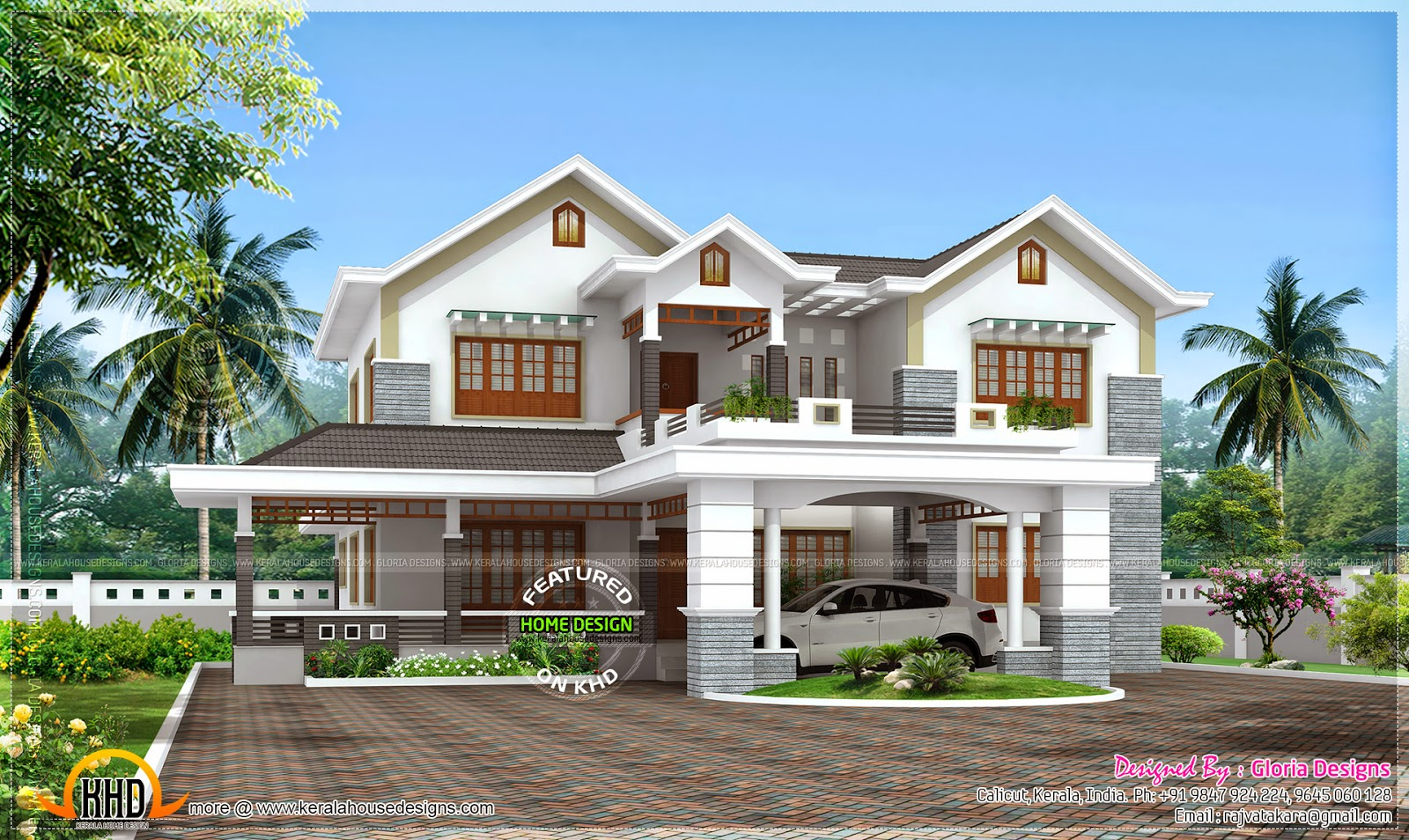 Beautiful 4 bedroom modern house kerala home design and for 4 bedroom house pictures