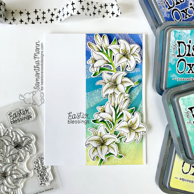 Easter Blessings Card by Samantha Mann for Newton's Nook Designs, Cards, Easter, Distress Oxide Inks, Ink Blending, Spring, Lilies, #newtonsnook #easter #eastercard #cards #inkblending #lilies