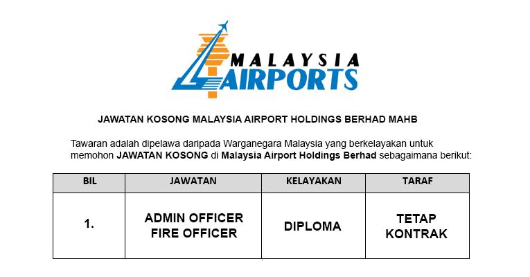 Malaysia Airport Holdings Berhad MAHB [ Jawatan Kosong Pegawai Dibuka ]