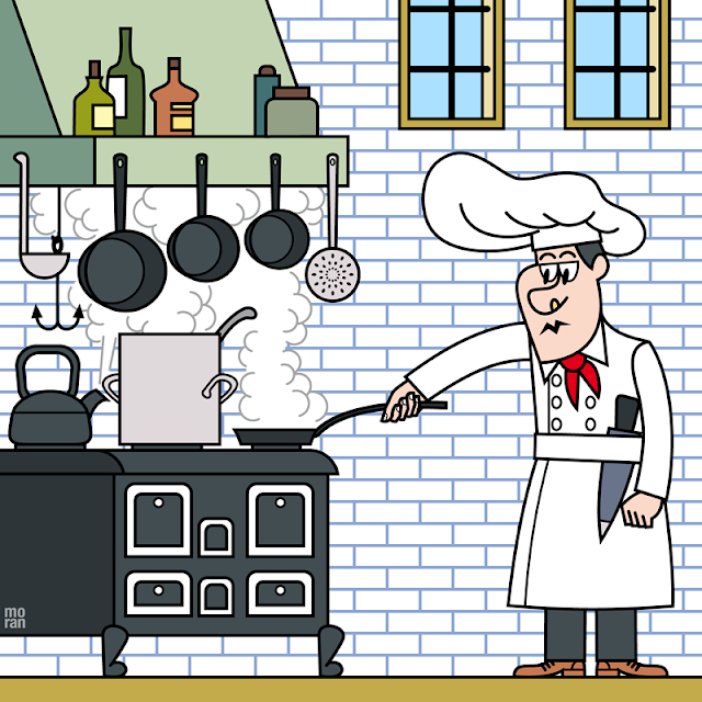 ilustracion dibujo marcos moran illustration drawing cocinero chef