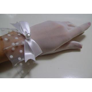 beyaz puantiyeli tül eldiven satın al