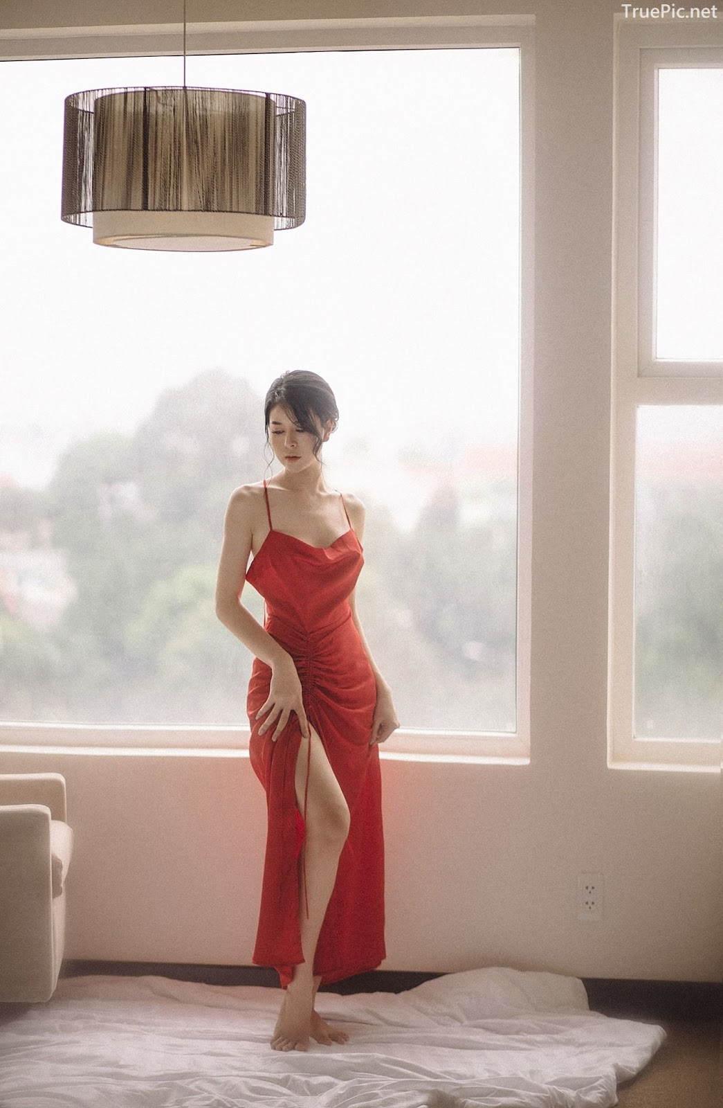 Vietnamese hot model - The beauty of Women with Red Camisole Dress - Photo by Linh Phan - Picture 5