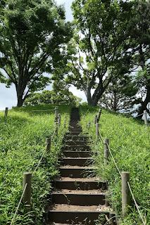 帆立型前方後円墳の階段です。