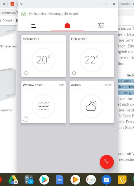 ViCare App auf Chromebook