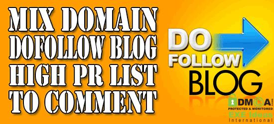 Mix Domain Dofollow Blog High PR List To Comment