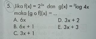 Jika f(x) = 23 x dan g(x) = 2log 4x maka (g o f )(x) =