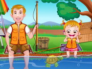 العاب بيبي هازل تصيد السمك مع ولدها