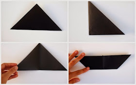 first four steps to fold cat's origami face