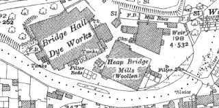 Heap Bridge Woollen Mills, OS map, 1928.