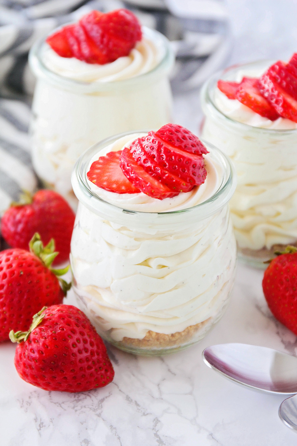 This homemade vanilla cheesecake mousse is so luscious and silky smooth. All the taste of cheesecake, without any of the work!