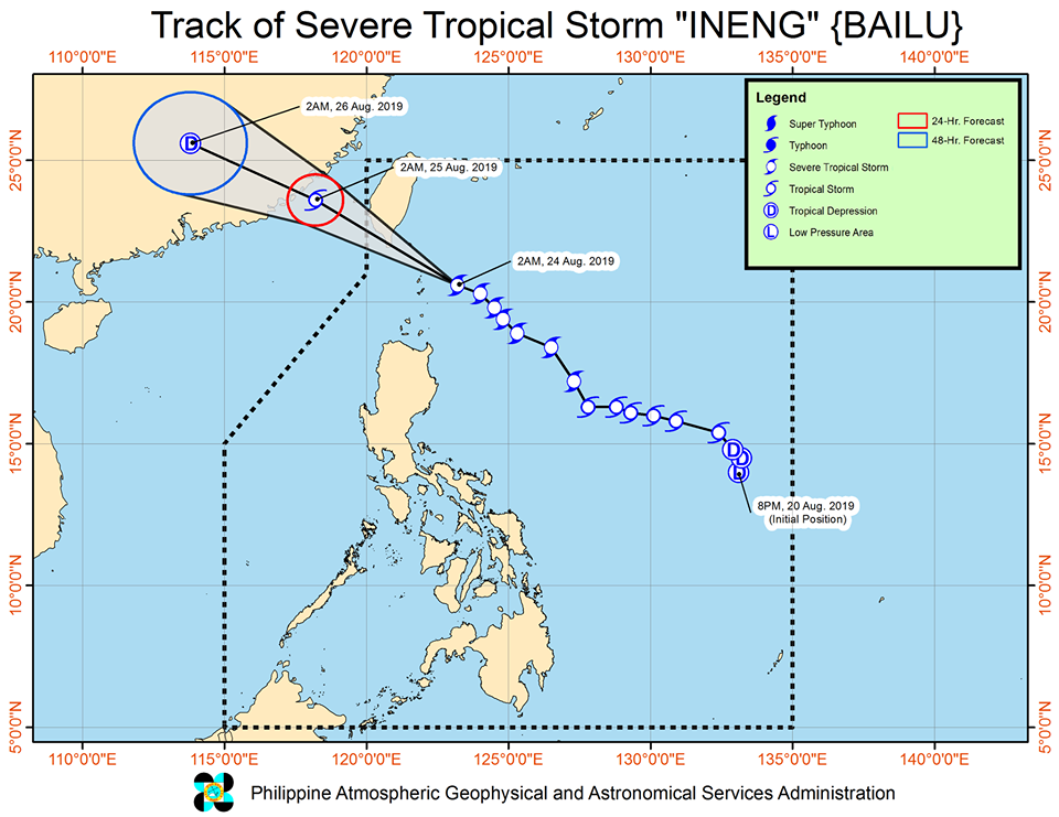 Latest track of Severe Tropical Storm Ineng as of Saturday, August 24