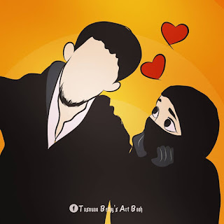 Cute Muslim Couple Cartoon