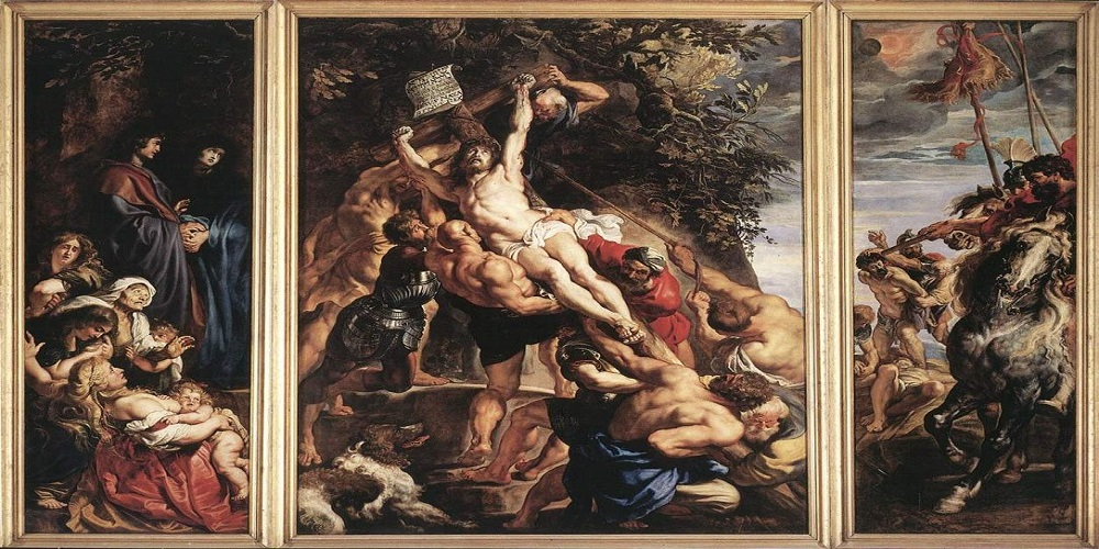 The Elevation of the Cross by baroque artist Peter Paul Rubens, created in 1610 as a triptych.
