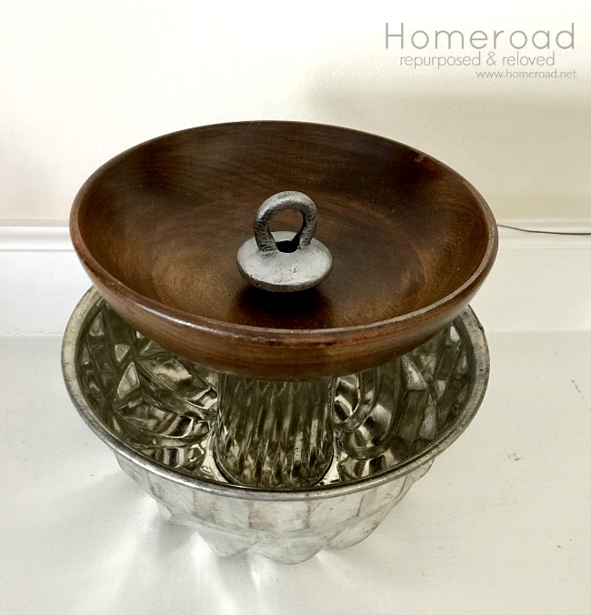 DIY Pistachio nut bowl using repurposed bakeware from the thrift store. www.homeroad.net