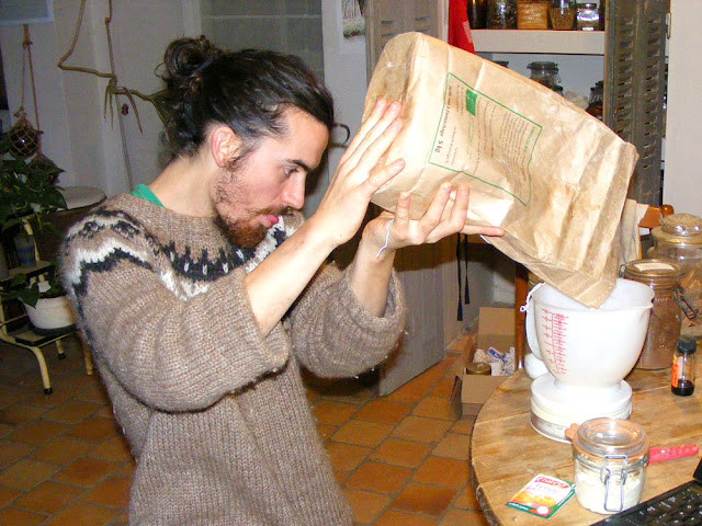 Weighing flour to bake a cake.  Indre et Loire, France. Photographed by Susan Walter. Tour the Loire Valley with a classic car and a private guide.