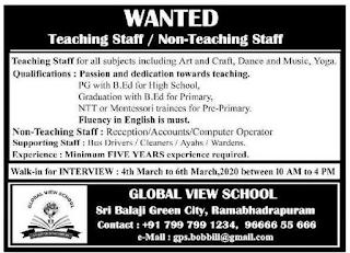 Global View School Teacher, Reception, Accounts, Computer Operator Jobs