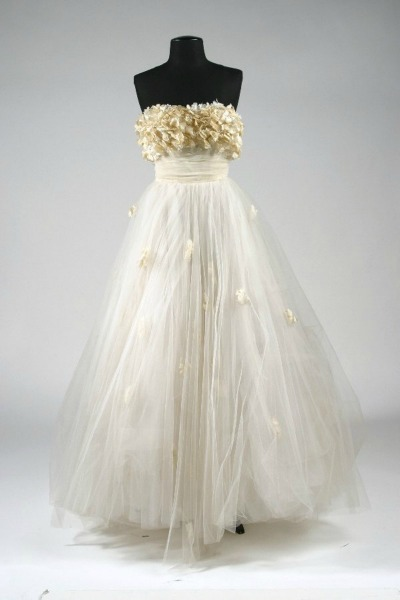 White Tulle ball skirt gown with flowered bodice on dress form Edith Head copy of design Elizabeth Taylor Gown from A Place In The Sun